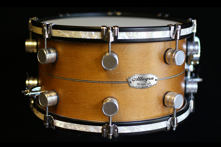 Allegra Drums 13 x 7.5 Snare in Vintage Maple with Herringbone Inlay and Antique Pearl Inlaid Hoops